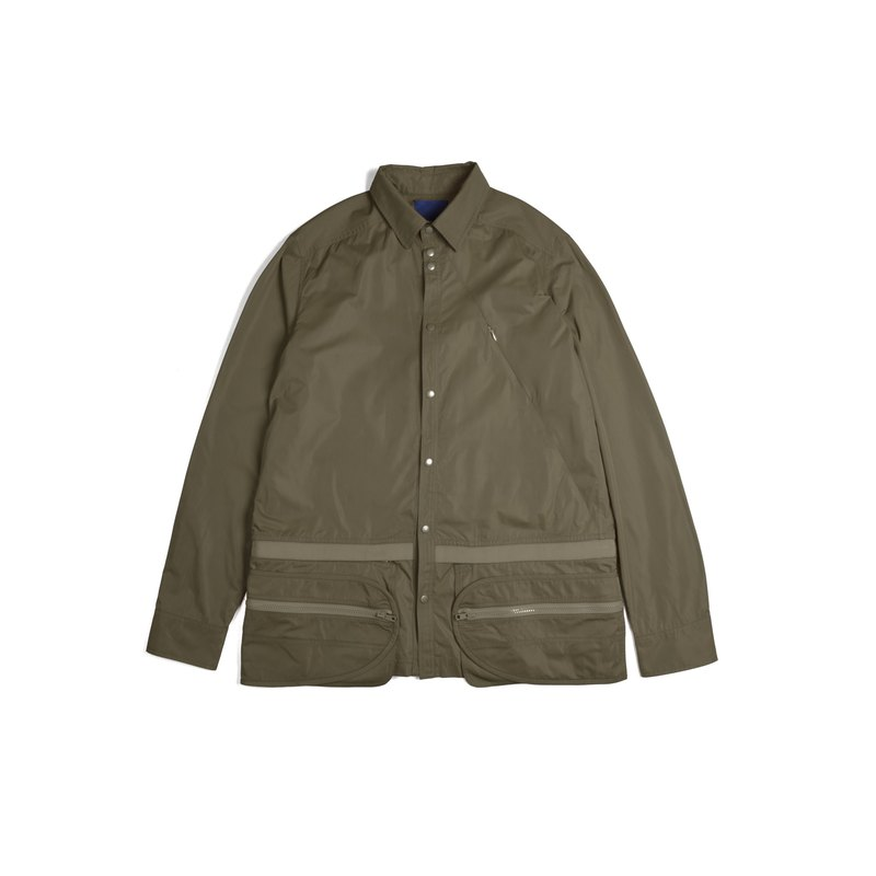 oqLiq-Dualism-Belt Pocket Detachable Pocket Shirt (Army Green)