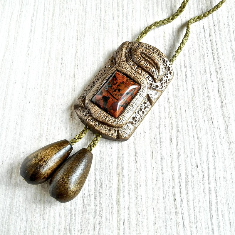 Wooden hand carved bolo tie with jasper
