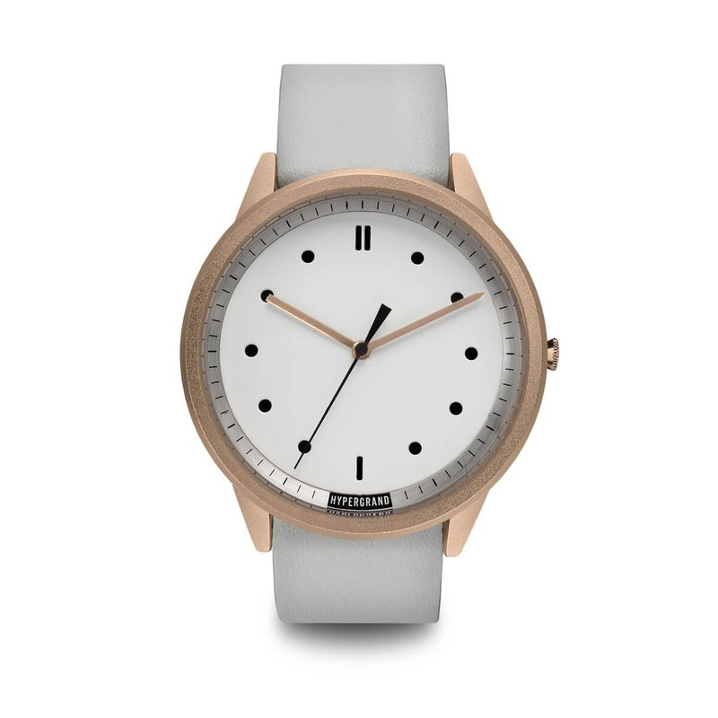 HYPERGRAND - 02 Basic Series - Rose Gold White Dial White Leather Watch