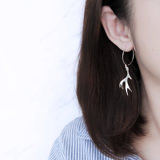 A pair of brilliant antler earrings in sterling silver