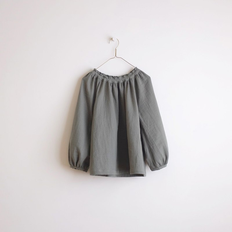 Daily hand-made suit khaki green puff sleeve elastic blouse cotton double yarn
