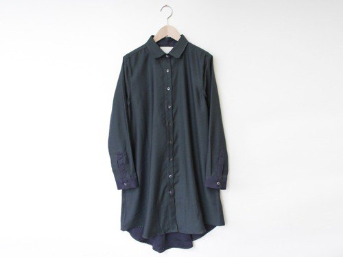 Rayon mixed yarn woven shirt dress dress-dark green-8614-04006-48