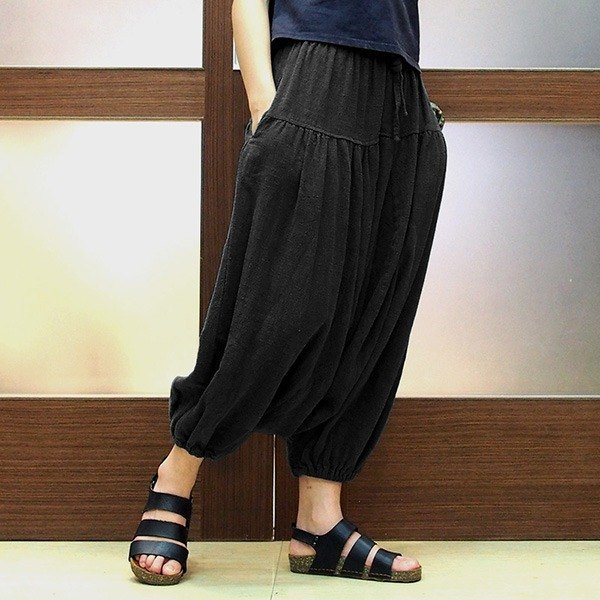 Calf Calf Village ├ original village ┤ High quality thick cotton pants wide pants pounds skirt beam port pants flying squirrel pants super {-} into the dark Limited
