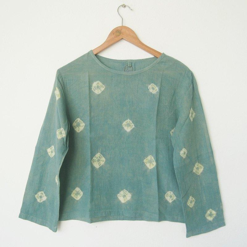 Linnil Indigo Green Spider Web Long Sleeve Shirt Tie Dye