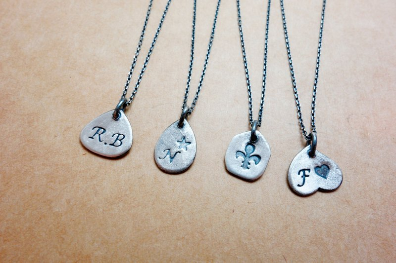 Sterling Silver Handmade Small Plate Necklace Customized Customization
