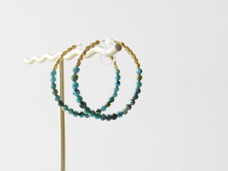 Turquoise and metal beads, hoop earrings 夾式耳環