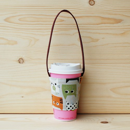 Cat to eat fish beverage bag/cup set