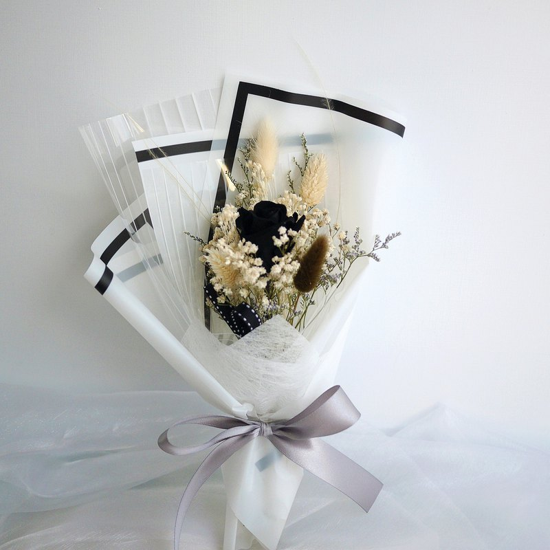 Lover's Praise-Non-Withered Black Rose Gypsophila Hand Dry Bouquet Sold Individually