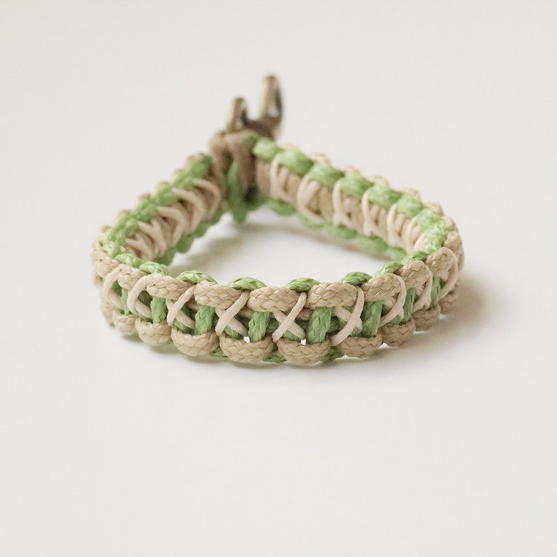 Woven Keychain-X Cobra Pattern (Matcha Green + Khaki + Off White)