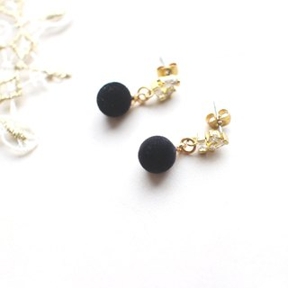 The Black-zircon brass earrings