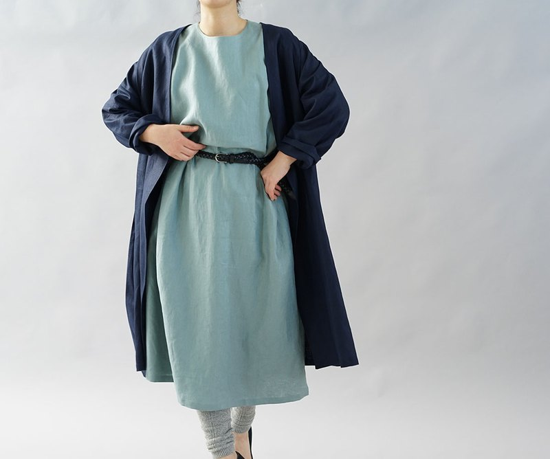 Belgian Linen Drop Shoulder Gown Coat / navy b22-12