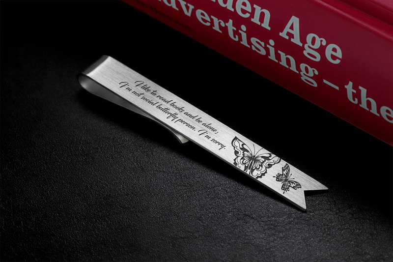 Engraved Bookmark, Butterfly Bookmark personalized, Custom bookmark silver 925