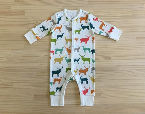 Love elk gujui (color) - organic cotton long-sleeved one-piece dress 3 ~ 6M