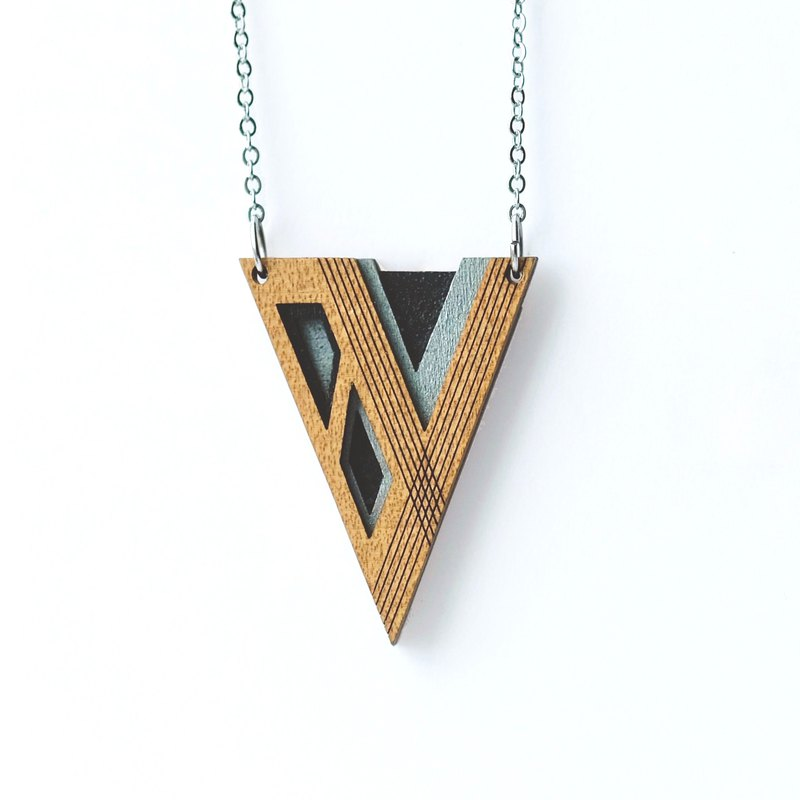 Wooden necklace -V(Silver&Black)