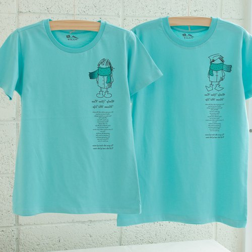 【Valentine's Day Valentine's Day】 【is not cold】 lovers / short-sleeved T-shirt / white, lake green choice