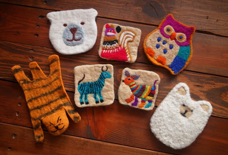 Animal cup coasters, Felt coasters Set of 4 280 Items