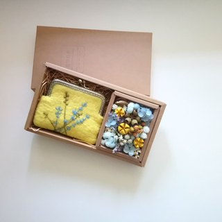 Eucalyptus dry flower gift box/yellow-blue tie money bag + eternal dry flower [mother's day/birthday gift/lover gift]