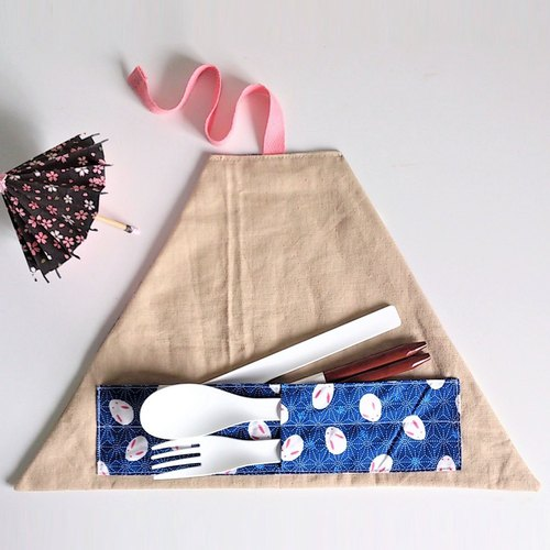 Utensil Wrap (Japanese-style blue rabbits x Almond)