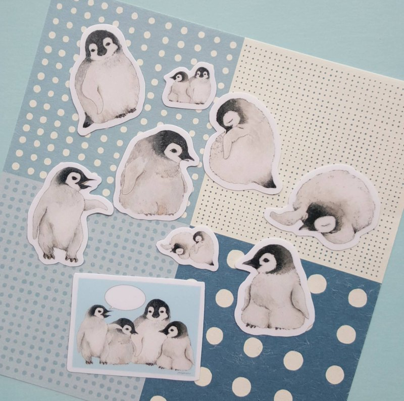Adorable animal series - Hand drawn baby penguin sticker