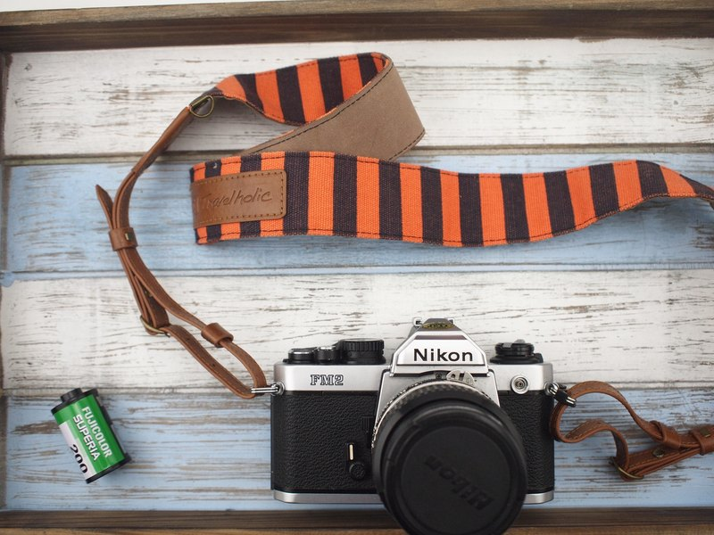 Travelholic Camera Neck Strap (Orange/Blue Stripes)