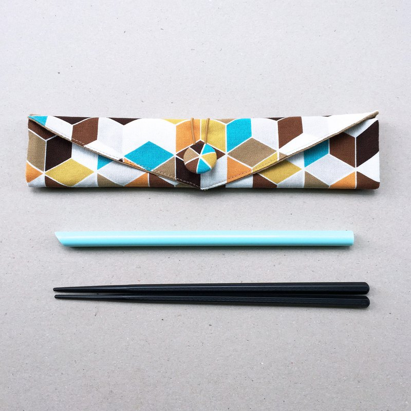 Adoubao-Chopsticks set with bag straw bag - white orange blue coffee & geometric cubes (yellow lining)