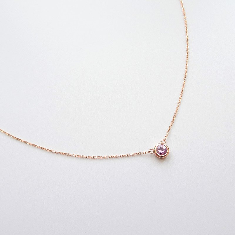 Natural Pink Sapphire 0.10 ct Bezel Set 18K Solid Gold Dainty Necklace Stackable