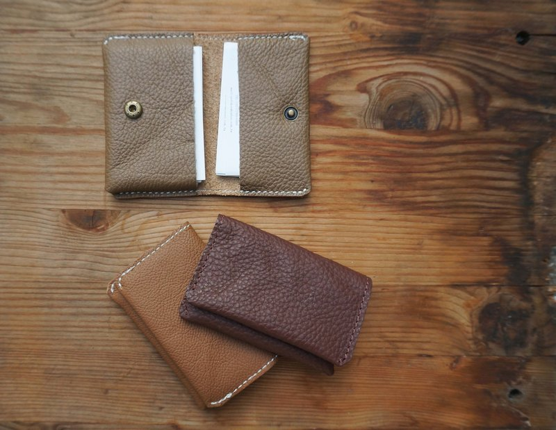 Soft leather double open leather business card holder
