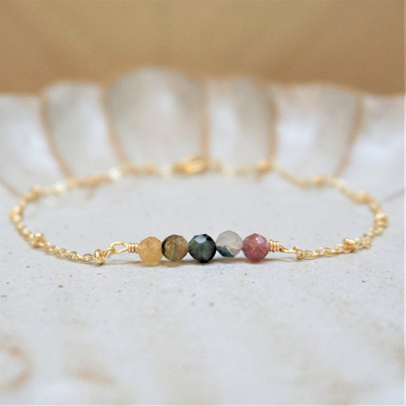 << Lucky Anklet - Natural Stone Anklet >> Tourmaline Thin Anklet (Stone Colors Will Be Different)