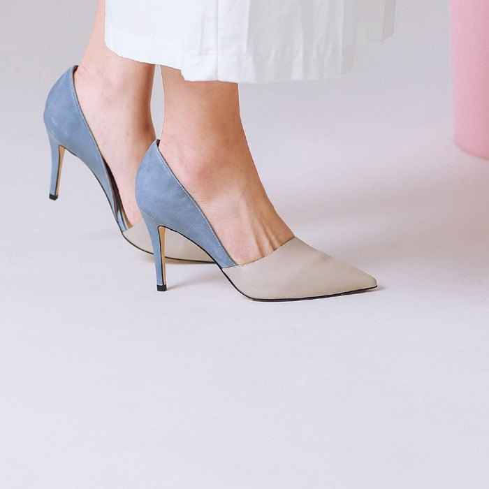 Covered structure painted color side digging leather high heels