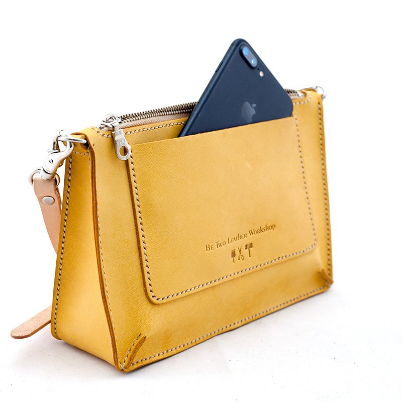 Thick flat bag handmade cowhide leather shoulder side back oblique carry bag small bag lemon yellow ∣ Be Two