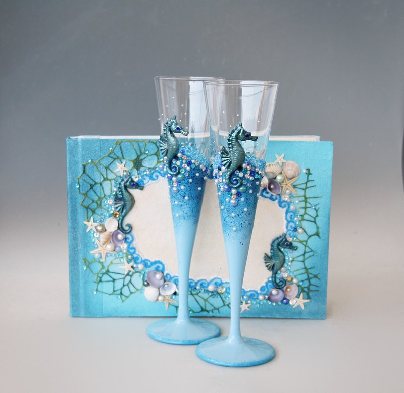 Wedding Set 2 Champagne Glasses and Guest Book Hand Painted Beach Wedding