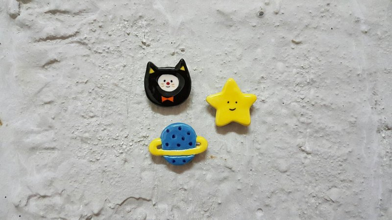 喵 friends + little stars + small planet ceramic pins (group)