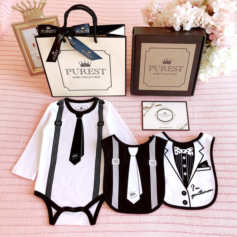 PUREST long-sleeved tie small gentleman perfect gift box group / baby newborn moon / birthday / gift preferred