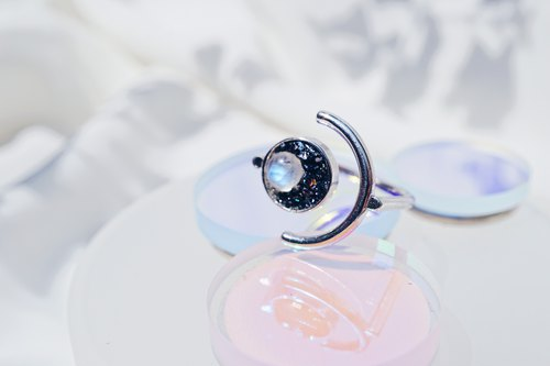 Crushed Hematite Moonstone Moon Eclipses 925 silver Ring