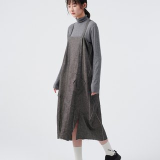 TRAN x FF&f x ACME Breakfast CLUB uniform joint wide stripe linen dress
