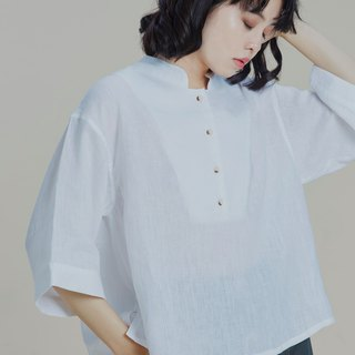 Shan Yong white stand collar linen wide sleeve top