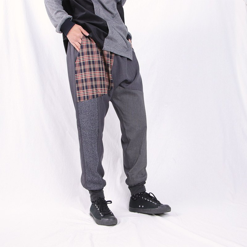 Iron gray / stitching / tapered neck trousers / T2204