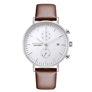 [Vintique] chronograph watch simple design sapphire glass stainless steel case leather strap CH-WS03