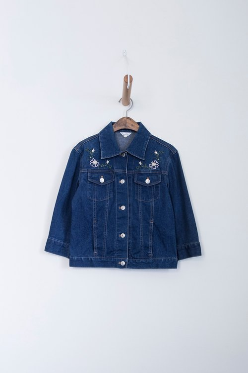 Banana Flyin | Vintage Vintage Vintage Embroidered Cropped Denim Jacket