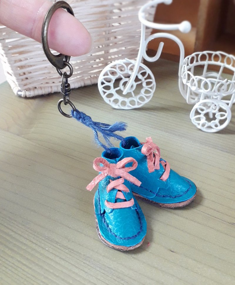 Leather mini shoe key ring pendant
