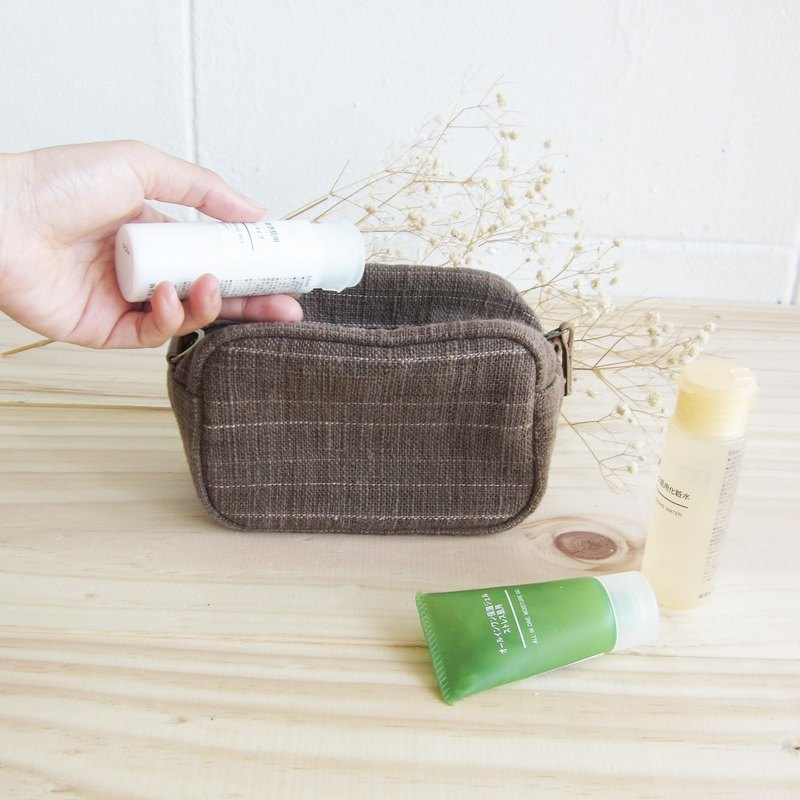 Cosmetic Bags Little Tan M Hand woven and Botanical Dyed Cotton Brown Color