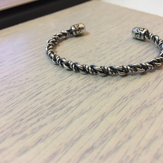 925 Sterling Silver Open Hand Wrap_Retro Twist Bracelet-17BS001_