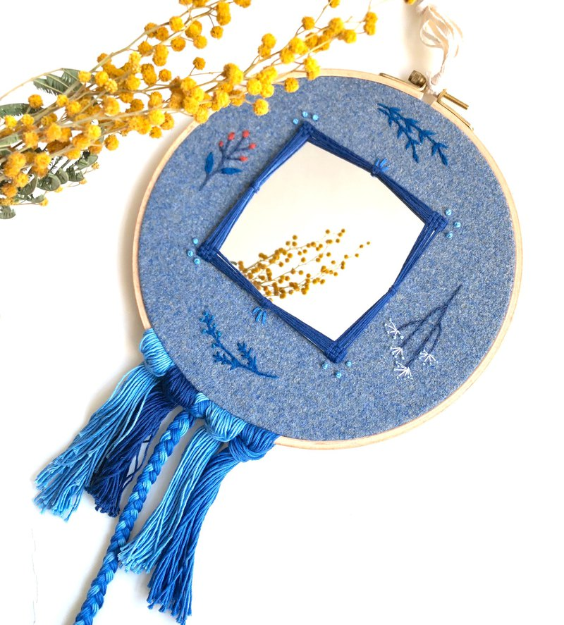 Blue plant embroidery fringed mirror ornament