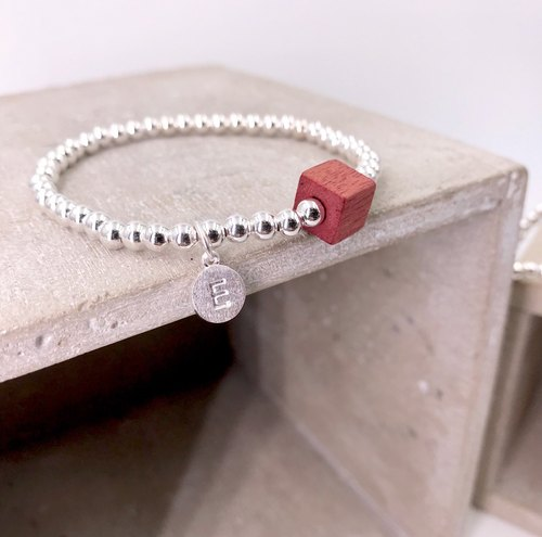 B61002(RED WOOD) Wooden Cube Initial Silver 925 Bracelet