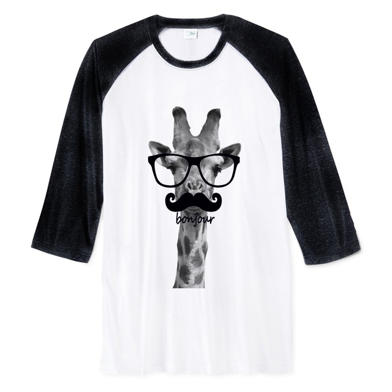 Giraffe-bonjour (Spot) Neutral Sleeve T-shirt 2 color giraffe Hello French glasses beard animal Wenqing art design trendy text fashion