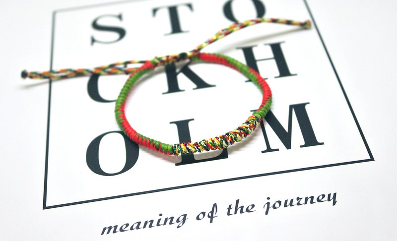 Thai silk wax thread X 5 color thread telescopic bracelet <colors can be selected>