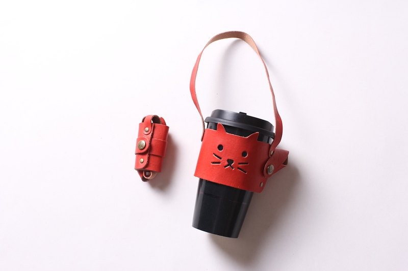 Little cat environmental protection leather beverage cup holder bag [can be stored design / free lettering 1-9 words]