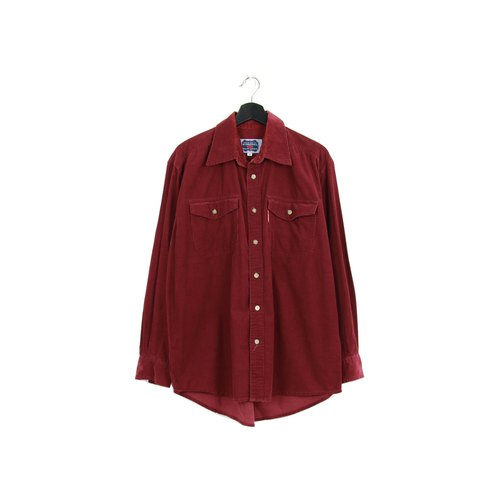 Back to Green Corduroy Shirt Wine Red Vintage