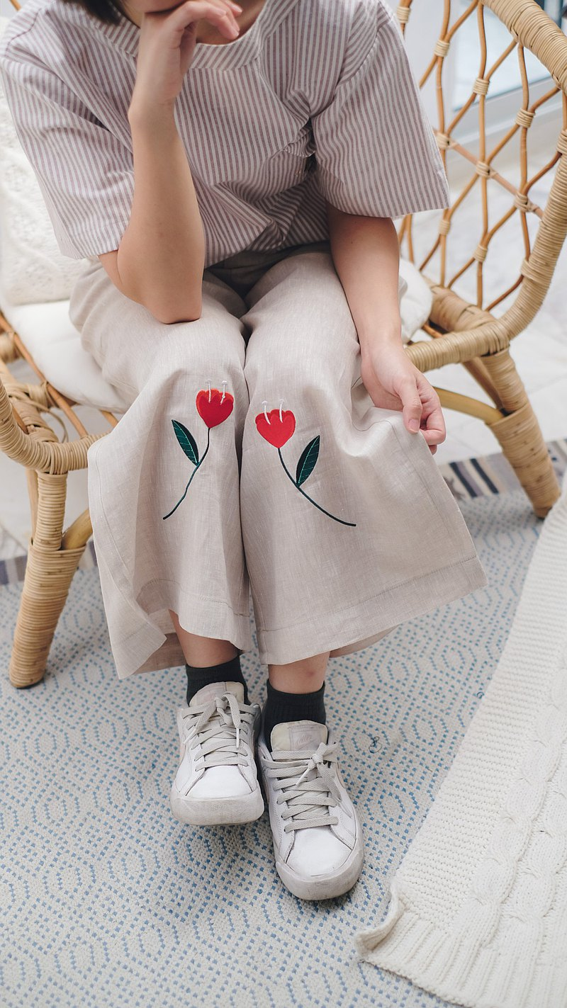 Poppy Linen Pants : Beige