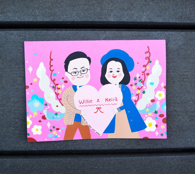 Cute and warm style customized couple portrait-2 people birthday / Valentine's Day / bride / wedding / anniversary